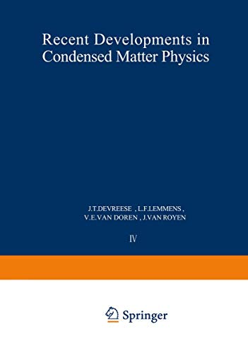 9780306406461: Recent Developments in Condensed Matter Physics Vol. 1 : Invited Papers