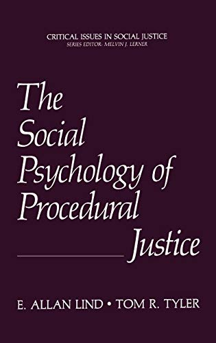 9780306427268: The Social Psychology of Procedural Justice: Critical Issues in Social Justice