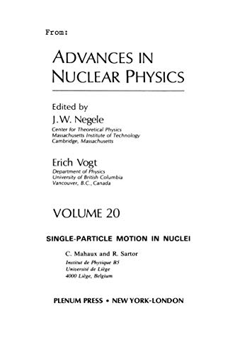 9780306438615: Advances in Nuclear Physics: Volume 20