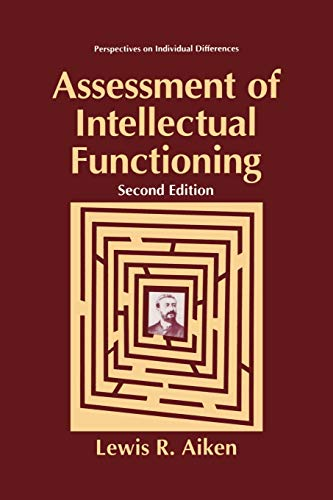 9780306484315: Assessment of Intellectual Functioning (Perspectives on Individual Differences)