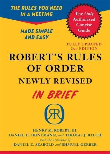 9780306820199: Robert's Rules of Order Newly Revised In Brief, 2nd edition (Roberts Rules of Order in Brief)