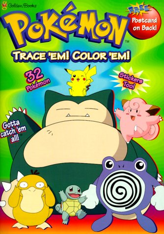 9780307241054: Pokemon Trace Em! Color Em! (Trace and Color With Stickers)