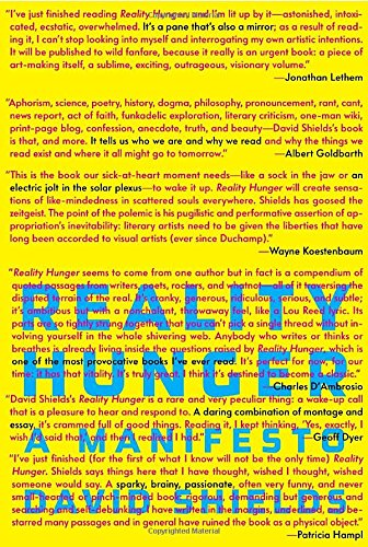 9780307273536: Reality Hunger: A Manifesto