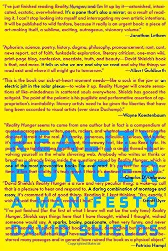 9780307273536: Reality Hunger: A Manifesto