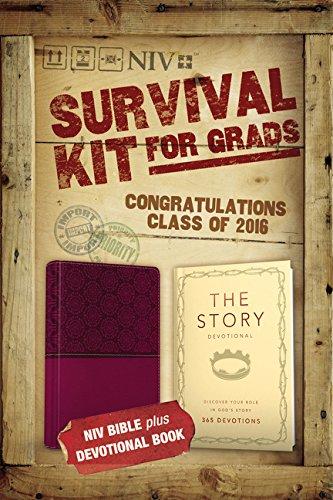 9780310003816: NIV, 2016 Survival Kit for Grads: NIV Bible plus Devotional Book, The Story Devotional