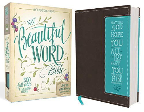 9780310003847: NIV, Beautiful Word Bible, Imitation Leather, Brown/Blue: 500 Full-Color Illustrated Verses