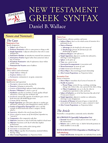9780310292081: New Testament Greek Syntax Laminated Sheet (Zondervan Get an A! Study Guides)