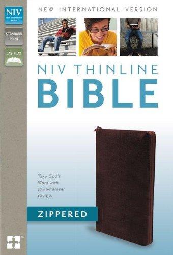 NIV, Thinline Bible Zippered, Bonded Leather, Burgundy: Zondervan