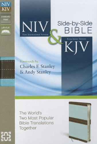 9780310406259: NIV, KJV, Side-by-Side Bible, Imitation Leather, Brown/Blue: God's Unchanging Word Across the Centuries