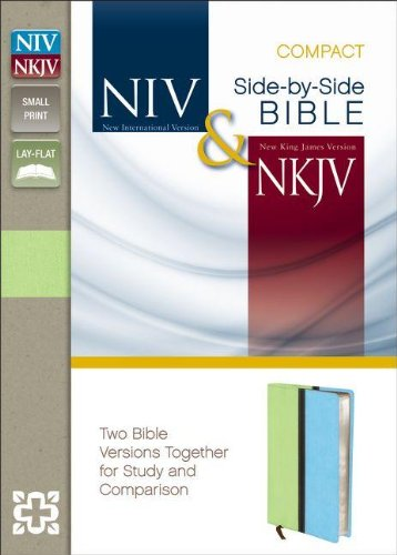 9780310411314: NIV, NKJV, Side-by-Side Bible, Compact, Imitation Leather, Green/Blue: Two Bible Versions Together for Study and Comparison