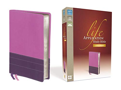 NIV, Life Application Study Bible, Second Edition, Large Print, Leathersoft, Pink/Purple (9780310419037) by Zondervan