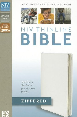 9780310421634: NIV, Thinline Zippered Collection Bible, Bonded Leather, White, Red Letter Edition