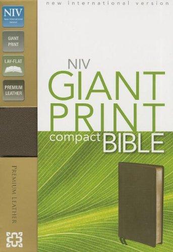 9780310426523: NIV, Giant Print Compact Bible, Giant Print, Premium Leather, Brown