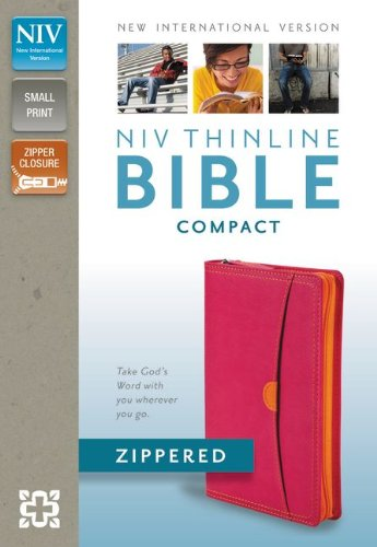 9780310430209: NIV, Thinline Zippered Collection Bible, Compact, Imitation Leather, Pink/Orange, Red Letter Edition