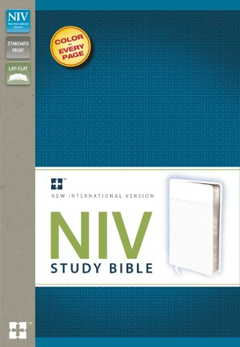 NIV Study Bible, Imitation Leather, White, Red: Zondervan