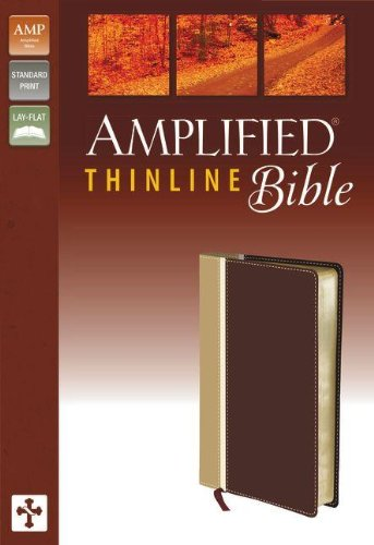 9780310432272: Amplified, Thinline Bible, Imitation Leather, Tan/Burgundy, Lay Flat