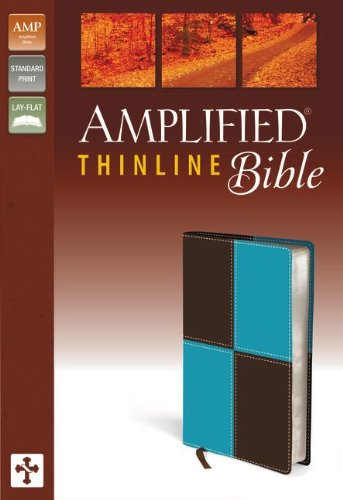 9780310432296: Amplified Thinline Bible, Imitation Leather, Blue/Brown
