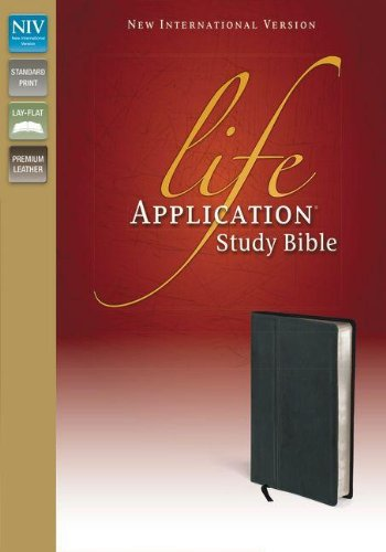 9780310434580: NIV, Life Application Study Bible, Premium Leather, Black
