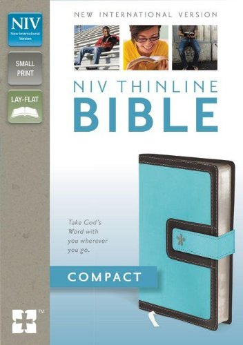 9780310435488: NIV, Thinline Bible, Compact, Imitation Leather, Blue/Brown, Red Letter Edition