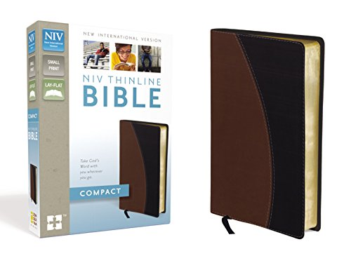 9780310435501: NIV, Thinline Bible, Compact, Imitation Leather, Tan/Black, Red Letter Edition