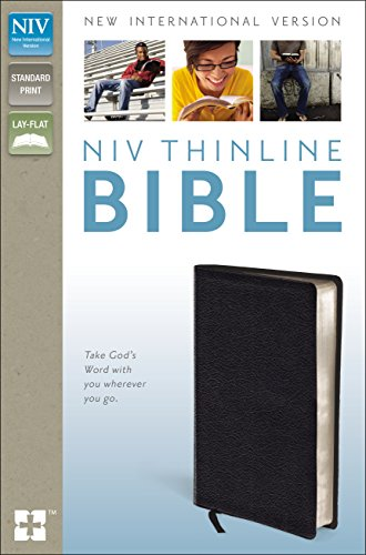 9780310435648: NIV, Thinline Bible, Bonded Leather, Black, Red Letter Edition