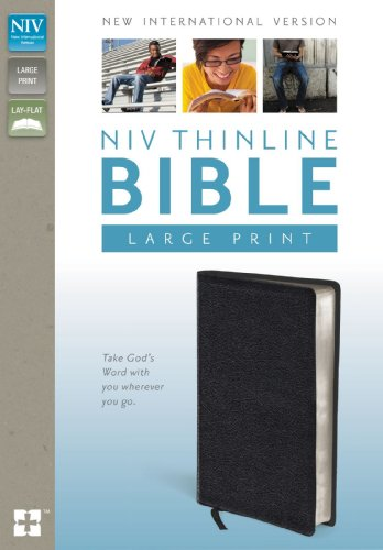 9780310435884: NIV, Thinline Bible, Large Print, Bonded Leather, Black, Red Letter Edition