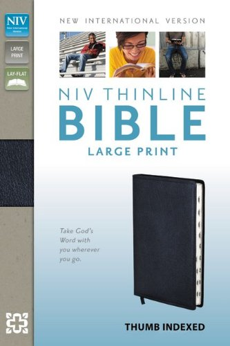 9780310435969: NIV, Thinline Bible, Large Print, Bonded Leather, Navy, Indexed, Red Letter Edition