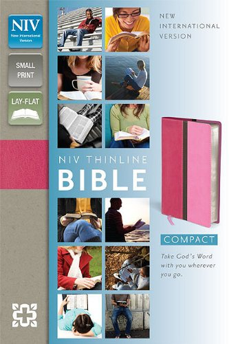 9780310436195: NIV, Thinline Bible, Compact, Imitation Leather, Pink, Red Letter Edition
