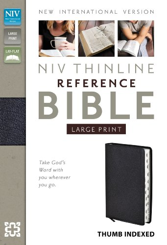 9780310436393: NIV Thinline Reference Bible, Large Print, Bonded Leather, Black, Indexed, Red Letter Edition