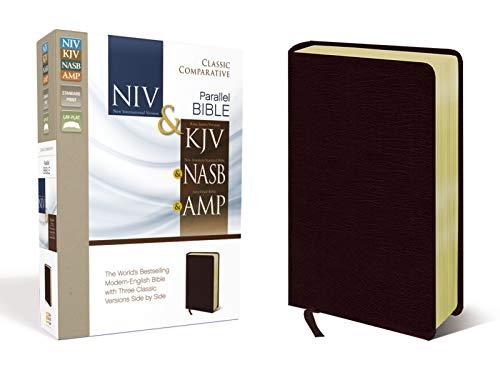 9780310436775: NIV, KJV, NASB, Amplified, Classic Comparative Parallel Bible, Bonded Leather, Burgundy: NIV and KJV and NASB and Amplified