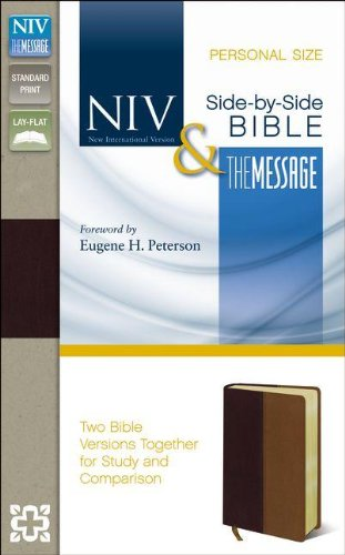 9780310436799: NIV, The Message, Side-by-Side Bible, Personal Size, Imitation Leather, Burgundy/Brown
