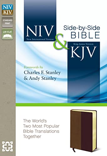 NIV, KJV, Side-by-Side Bible, Leathersoft, Tan/Burgundy: God's Unchanging Word Across the ...