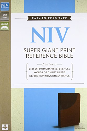 9780310437109: NIV, Super Giant Print Reference Bible, Giant Print, Imitation Leather, Brown, Red Letter Edition