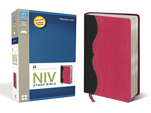 9780310437369: NIV Study Bible, Personal Size, Imitation Leather, Gray/Pink, Red Letter Edition