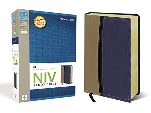 9780310437376: NIV Study Bible, Imitation Leather, Tan/Blue, Red Letter Edition