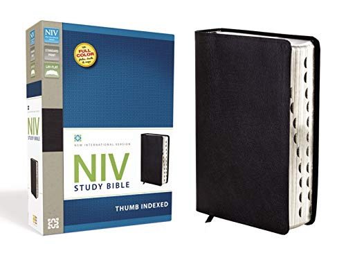 9780310437406: NIV Study Bible, Top-Grain Leather, Black, Indexed, Red Letter Edition