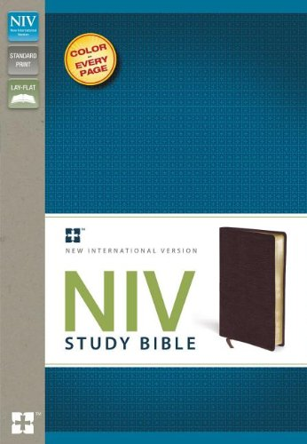 9780310437444: NIV Study Bible, Bonded Leather, Burgundy, Red Letter Edition