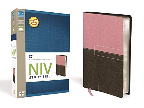 9780310437451: NIV Study Bible, Imitation Leather, Pink/Brown, Red Letter Edition