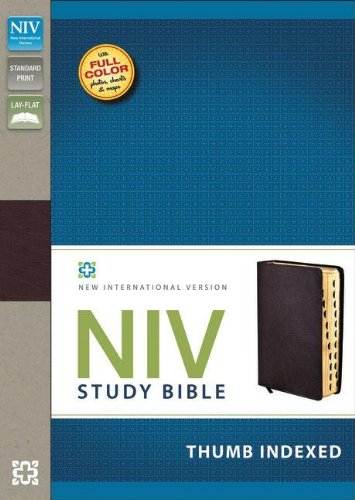 9780310437505: NIV Study Bible, Bonded Leather, Burgundy, Indexed, Red Letter Edition