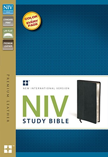 9780310437536: NIV Study Bible, Premium Leather, Black, Red Letter Edition