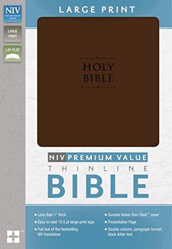 9780310437727: NIV, Value Thinline Bible, Large Print, Imitation Leather, Brown