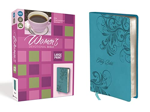 9780310437871: NIV, Women's Devotional Bible, Large Print, Leathersoft, Blue