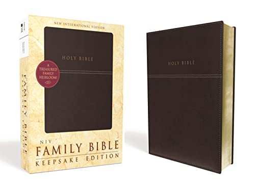 9780310438120: NIV, Family Bible (Keepsake Edition), Imitation Leather, Burgundy, Red Letter Edition