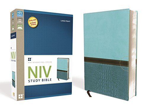 9780310438663: NIV Study Bible, Large Print, Leathersoft, Blue/Turquoise, Red Letter Edition