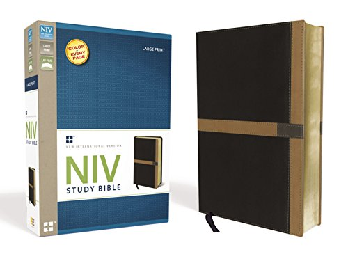 9780310438670: NIV Study Bible, Large Print, Leathersoft, Black/Tan, Red Letter Edition