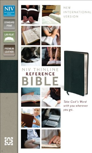 9780310439233: NIV, Thinline Reference Bible, Premium Leather, Black, Red Letter Edition