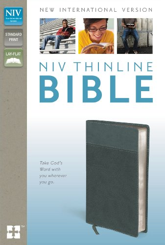 9780310443391: NIV, Thinline Bible, Imitation Leather, Gray, Red Letter Edition