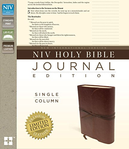 NIV, Holy Bible, Journal Edition, Premium Leather, Brown: Zondervan