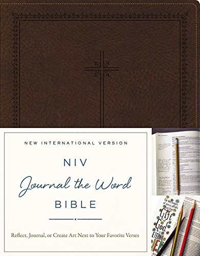 9780310445555: NIV, Journal the Word Bible, Imitation Leather, Brown: Reflect, Journal, or Create Art Next to Your Favorite Verses