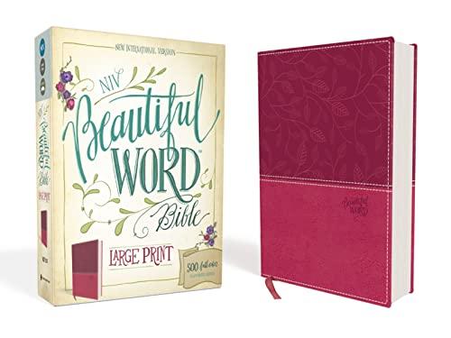 9780310446071: NIV, Beautiful Word Bible, Large Print, Imitation Leather, Pink: 500 Full-Color Illustrated Verses